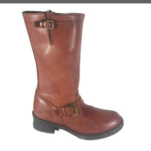 FRYE Tall Red Leather MOTO Boots 8